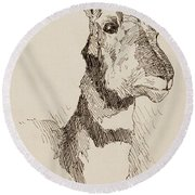 A Pronghorn Antelope By Remington Round Beach Towel