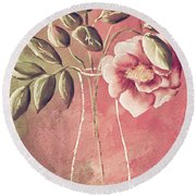 A Rose In A Vase Round Beach Towel
