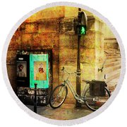 Round Beach Towel featuring the photograph A Saint Bicycle Of All Seasons II by Craig J Satterlee