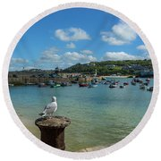 A Seagull Dreaming At The Harbour Round Beach Towel