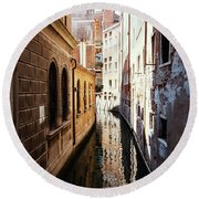 A Shadow In The Venetian Noon Narrow Canal Round Beach Towel