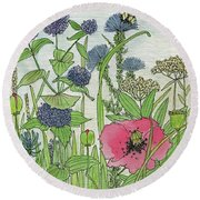 A Single Poppy Wildflowers Garden Flowers Round Beach Towel