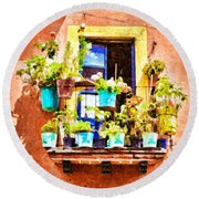Round Beach Towel featuring the photograph A Small Suspended Garden In Mexico - Digital Paint by Tatiana Travelways