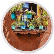 Round Beach Towel featuring the photograph A Small Suspended Garden In Mexico by Tatiana Travelways