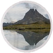 Round Beach Towel featuring the photograph A Still Evening At Lac Du Miey by Stephen Taylor