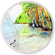 Round Beach Towel featuring the painting A Stroll On Batibou Beach 3 by Carlin Blahnik CarlinArtWatercolor