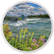 Round Beach Towel featuring the photograph A Touch Of Summer In Fall At Niagara Falls, New York by Lynn Bauer