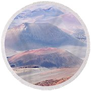 A View Of Craters At Haleakala National Park, Maui, Hawaii Round Beach Towel