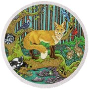 A Vixen In The Forest Round Beach Towel