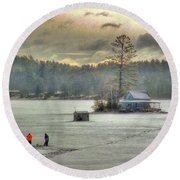 A Warm Glow On A Cool Scene Round Beach Towel