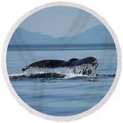 Round Beach Towel featuring the photograph A Whale Of A Tail - Wildlife Art by Jordan Blackstone