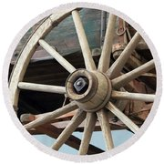 A Wheel And Undercarriage Of A Buckboard Wagon Round Beach Towel