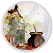 Round Beach Towel featuring the painting A Witch Called Zee by Valerie Anne Kelly