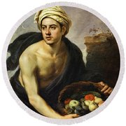 A Young Man With A Basket Of Fruit, 1650 Round Beach Towel