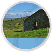 Abandoned Cottage In Alentejo Round Beach Towel