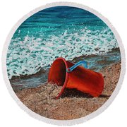 Round Beach Towel featuring the painting Abandoned by Darice Machel McGuire