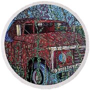 Abandoned Oil Truck  Round Beach Towel