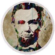 Abe Lincoln Americas Real Hero   48x48 Huge Prints Round Beach Towel
