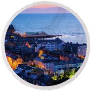 Aberystwyth At Night Round Beach Towel