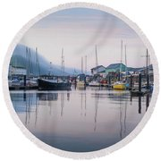 Aberystwyth Harbour In The Eatly Morning Round Beach Towel