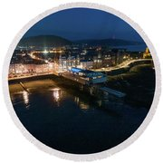 Aberystwyth Wales At Night From The Air Round Beach Towel