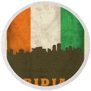 Abidjan Ivory Coast World City Flag Skyline Round Beach Towel