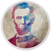 Abraham Lincoln For President Watercolor Round Beach Towel