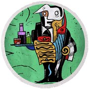 Round Beach Towel featuring the painting Absinthe by Sotuland Art