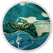 Round Beach Towel featuring the photograph Abstract Boat Reflection V Color by David Gordon
