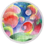 Abstract Bubbles Watercolor Round Beach Towel