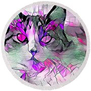 Abstract Calico Cat Purple Glass Round Beach Towel