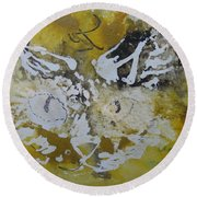 Round Beach Towel featuring the drawing Abstract Cat Face Yellows And Browns by AJ Brown