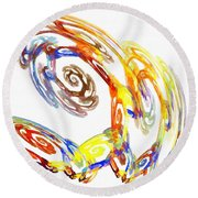 Abstract Crab Yellow Round Beach Towel
