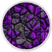 Abstract Deep Purple Stone Triptych Round Beach Towel