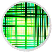 Abstract Design With Lines Squares In Green Color Waves - Pl409 Round Beach Towel