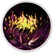 Abstract Digital Dahlia Floral Cosmos 891 Round Beach Towel