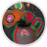 Abstract Floral Art 364 Round Beach Towel