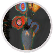 Abstract Floral Art 367 Round Beach Towel