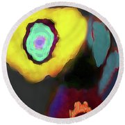 Abstract Floral Art 371 Round Beach Towel
