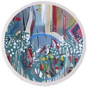 Abstract Floral Circle Round Beach Towel