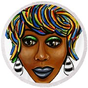 Abstract Art Black Woman Retro Pop Art Painting- Ai P. Nilson Round Beach Towel