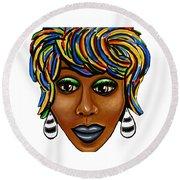 Abstract Art Black Woman Retro Pop Art Painting- Ai P. Nilson Round Beach Towel