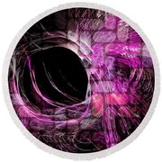 Abstract Heaven Magenta Round Beach Towel