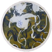 Round Beach Towel featuring the drawing Abstract Human Figure by AJ Brown