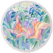 Abstract Lilies Round Beach Towel