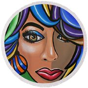 Abstract Woman Artwork Abstract Female Painting Colorful Hair Salon Art - Ai P. Nilson Round Beach Towel