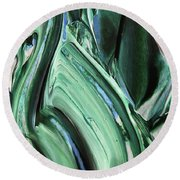 Abstract Organic Lines The Flow Of Blue And Green  Round Beach Towel