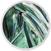 Abstract Organic Lines The Flow Of Green And Blue Round Beach Towel