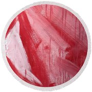 Abstract Red Paint Round Beach Towel