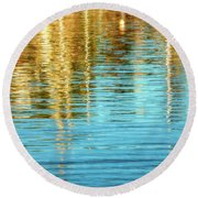 Abstract Reflections In Camden Harbor Maine Round Beach Towel